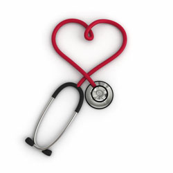 Stethoscope in the shape of a heart. We care about you.